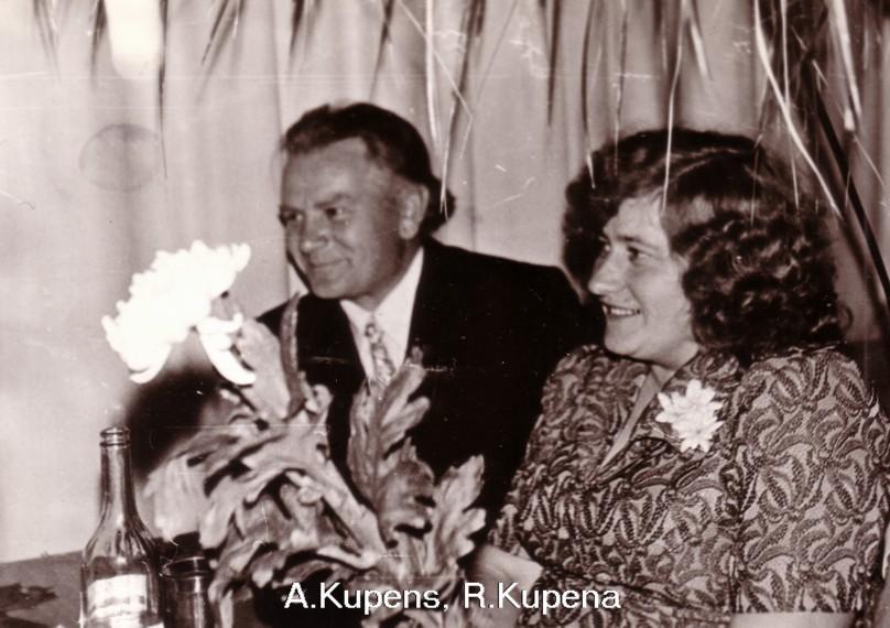 Arvīds un Rasma Kupeni Ausekļa vakarā 1976